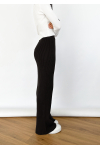 Wide leg knitted trousers in black