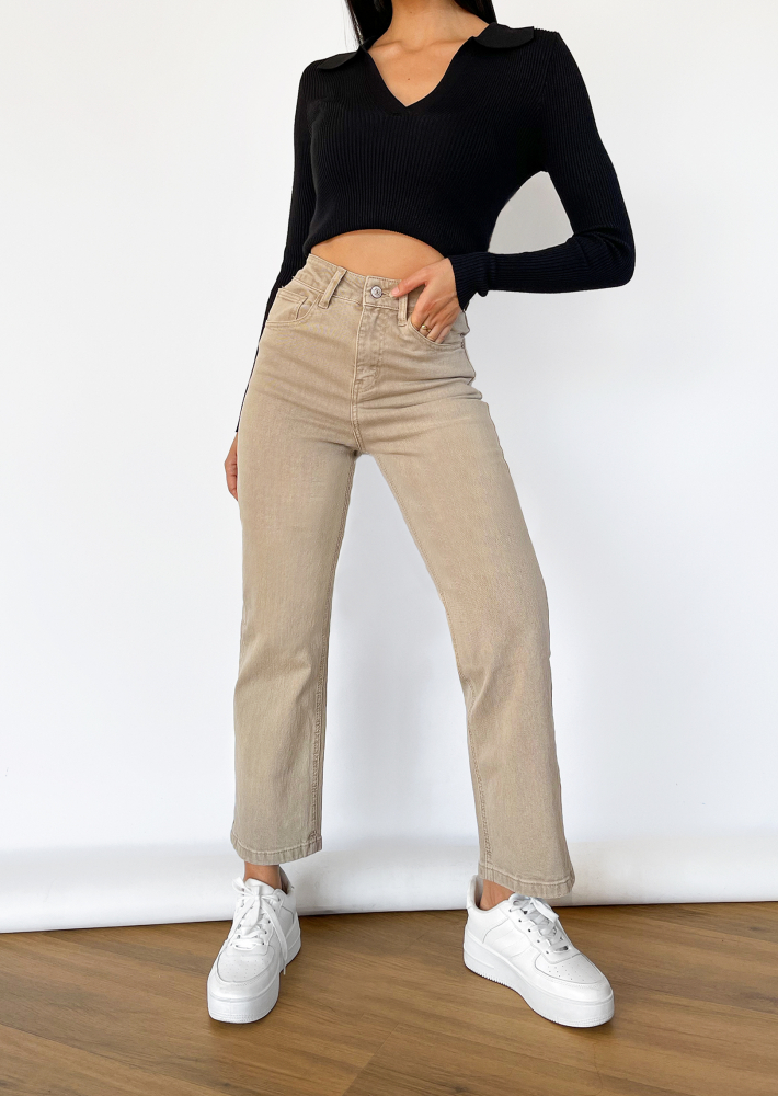 Dad jeans in beige