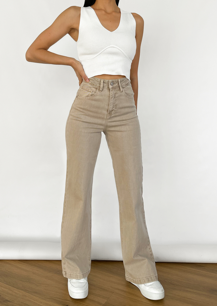 Flare jeans in beige