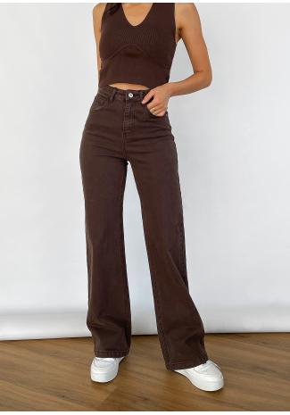 Jeans de campana y pernera ancha en marrón