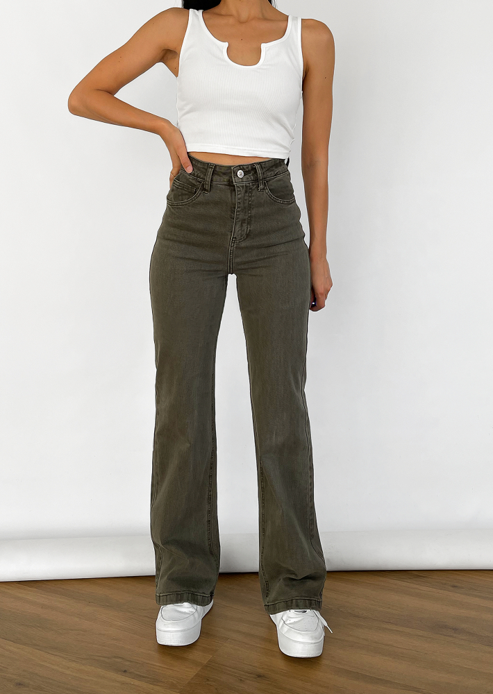Flare jeans in khaki