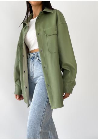 Chaqueta oversize verde de cuero sintético
