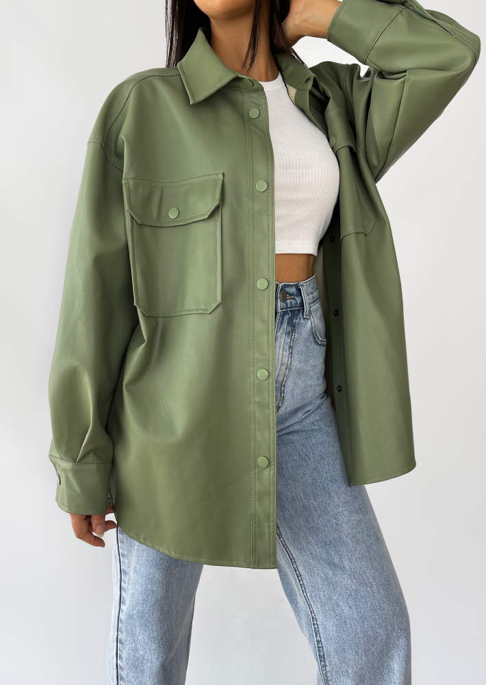 Oversized faux leather jacket in green