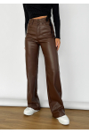 Faux leather wide leg trousers in brown