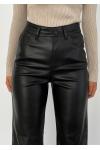 Faux leather wide leg trousers in black
