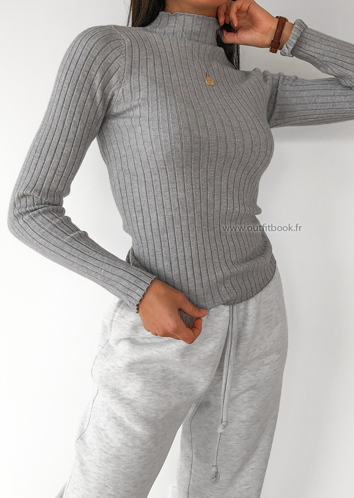 High neck rib knit jumper in grey