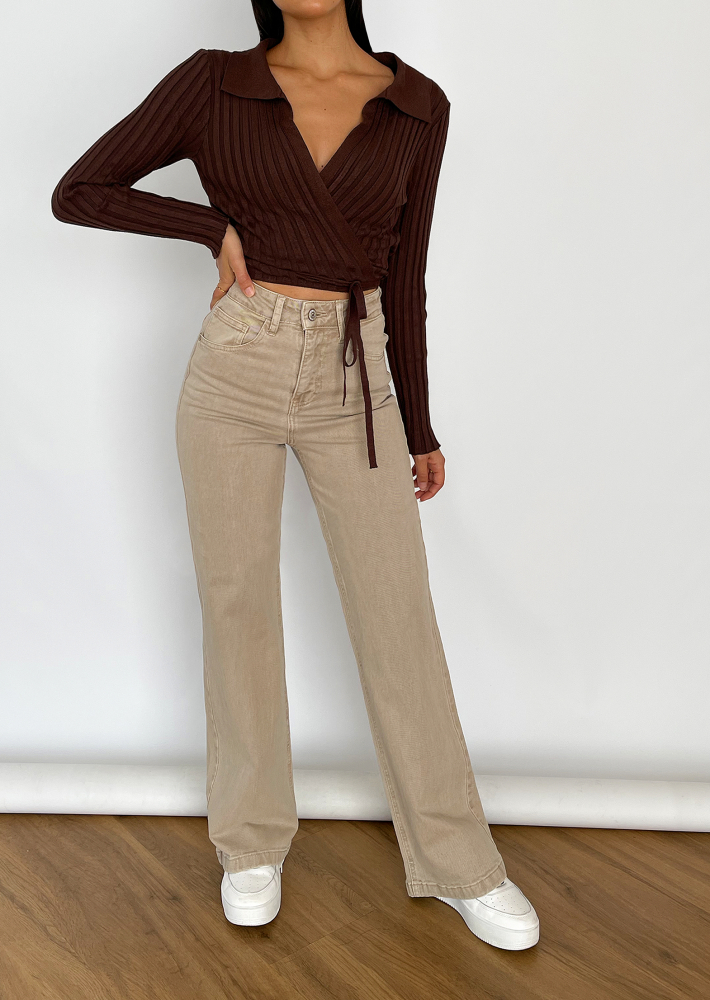 Ribbed wrap jumper in brown