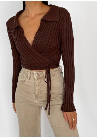 Jersey marrón cruzado de canalé