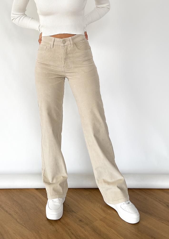 Wide leg trousers in beige corduroy