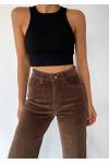 Wide leg trousers in brown corduroy