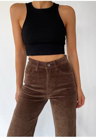 Pantalones de pernera ancha de pana marrón