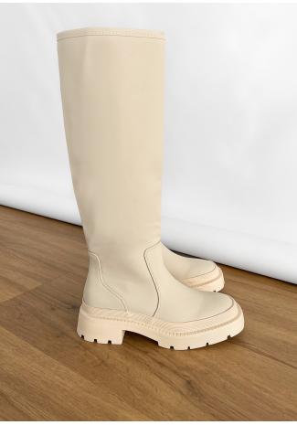 Botas de agua beis por la rodilla con suela gruesa