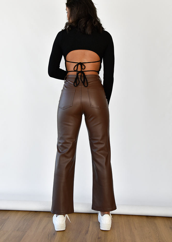 Leather look straight leg trousers in brown