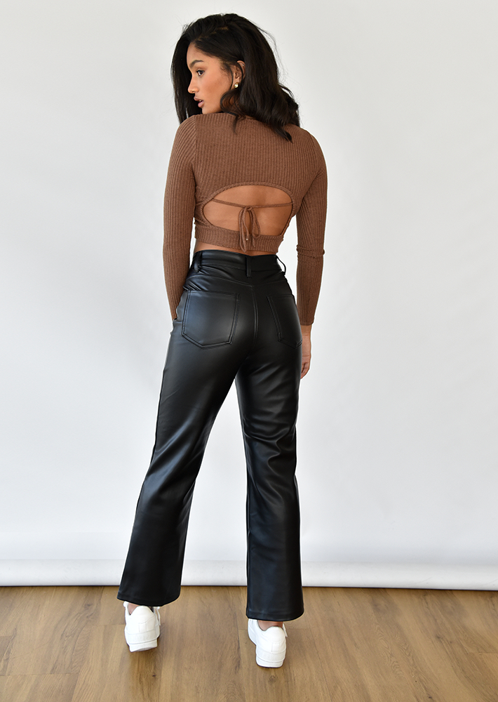 Leather look straight leg trousers in black
