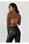 Open tie back rib jumper in brown