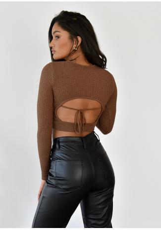 Jersey con espalda abierta y detalle anudado marrón