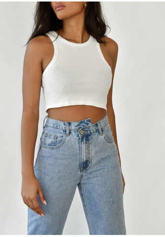 Stepped waistband straight jeans