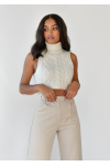 Roll neck cable knit sleeveless jumper