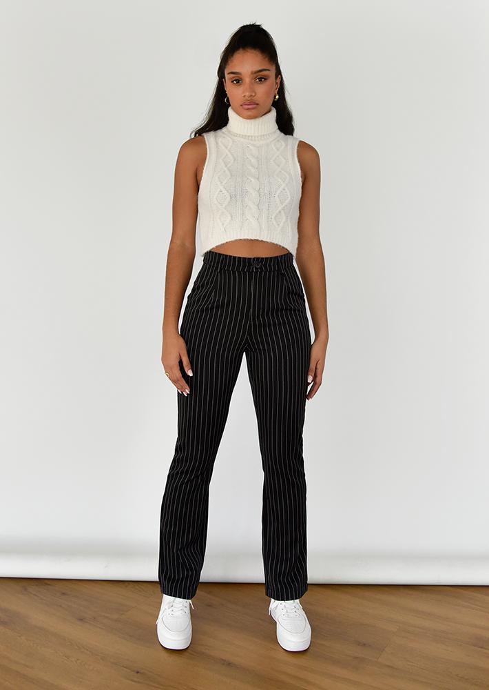 Trousers in black pinstripe