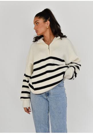 Half-zip Striped Knit Sweater