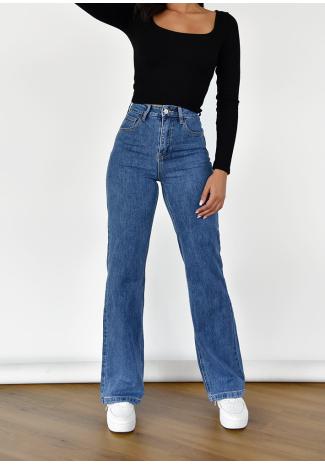 Jeans de campana y pernera ancha azul