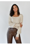Square neck knit jumper with puff sleeves