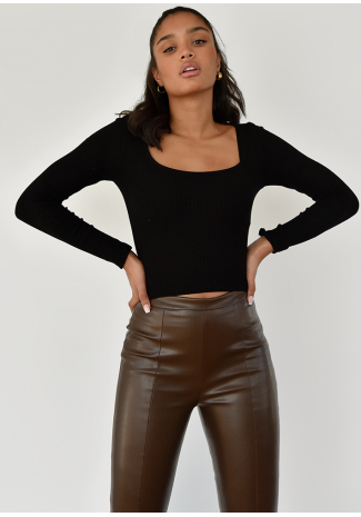 Pantalón de piel sintética con aberturas en marrón