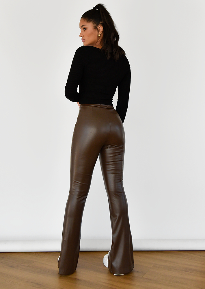 Brown Faux Leather Split Front Trousers