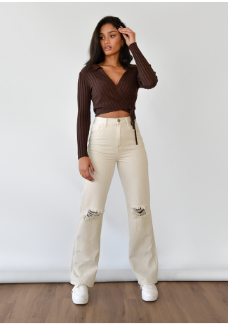 Ripped straight jeans in beige