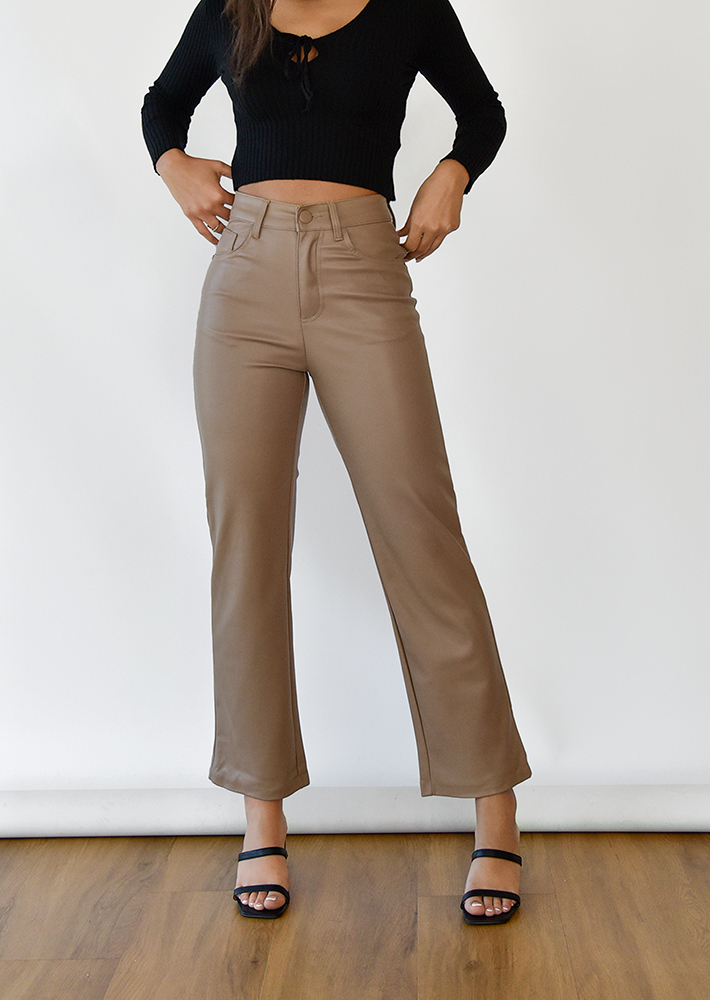 Leather look straight leg trousers in beige