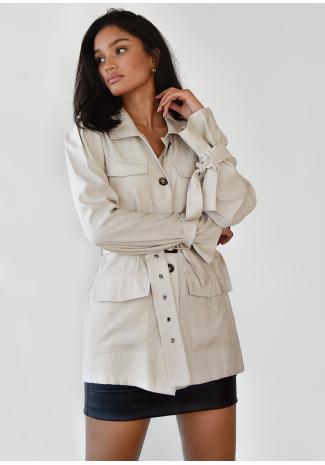 Beige jacket with waisted belt