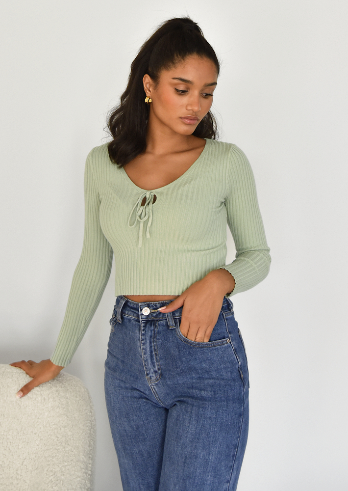 Jumper with cut out detail in green