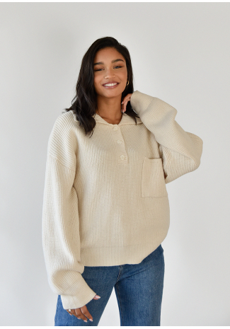 Pull-over maille col polo beige