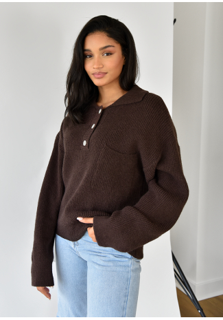 Pull-over maille col polo marron