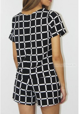 Black and white checkered top and shorts set