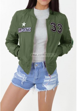 Khaki bomber jacket with patches